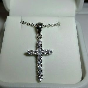 Jewelry - Sterling Silver simulated diamond cross necklace